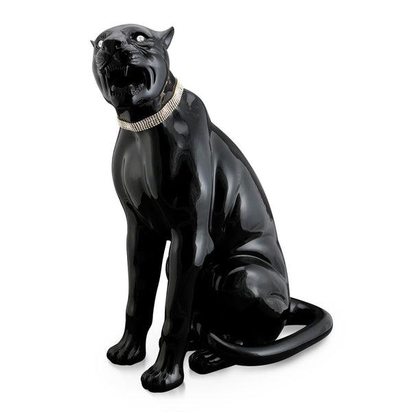 Ceramic sitting black panther statue