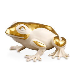ceramic porcelain ivory frog finished in gold with swarovski handmade in Italy