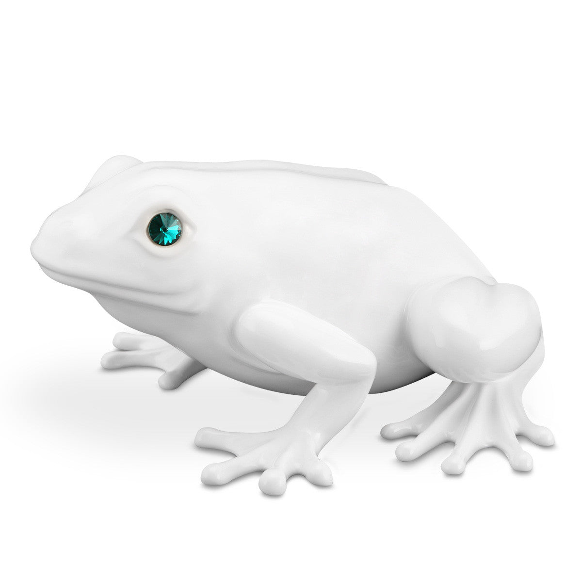 ceramic porcelain white frog with green swarovski handmade in Italy
