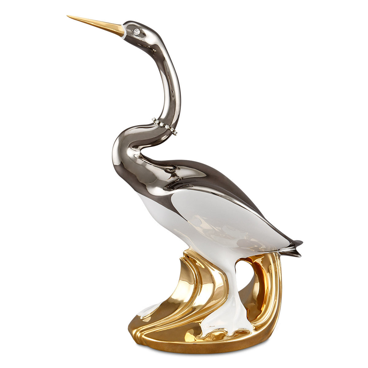 Hand Painted Italian Ceramic ibis bird statues-24kt gold-platinum-animal gifts-luxury home decor