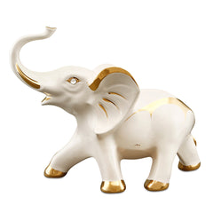 Ceramic good luck elephant with gold accents