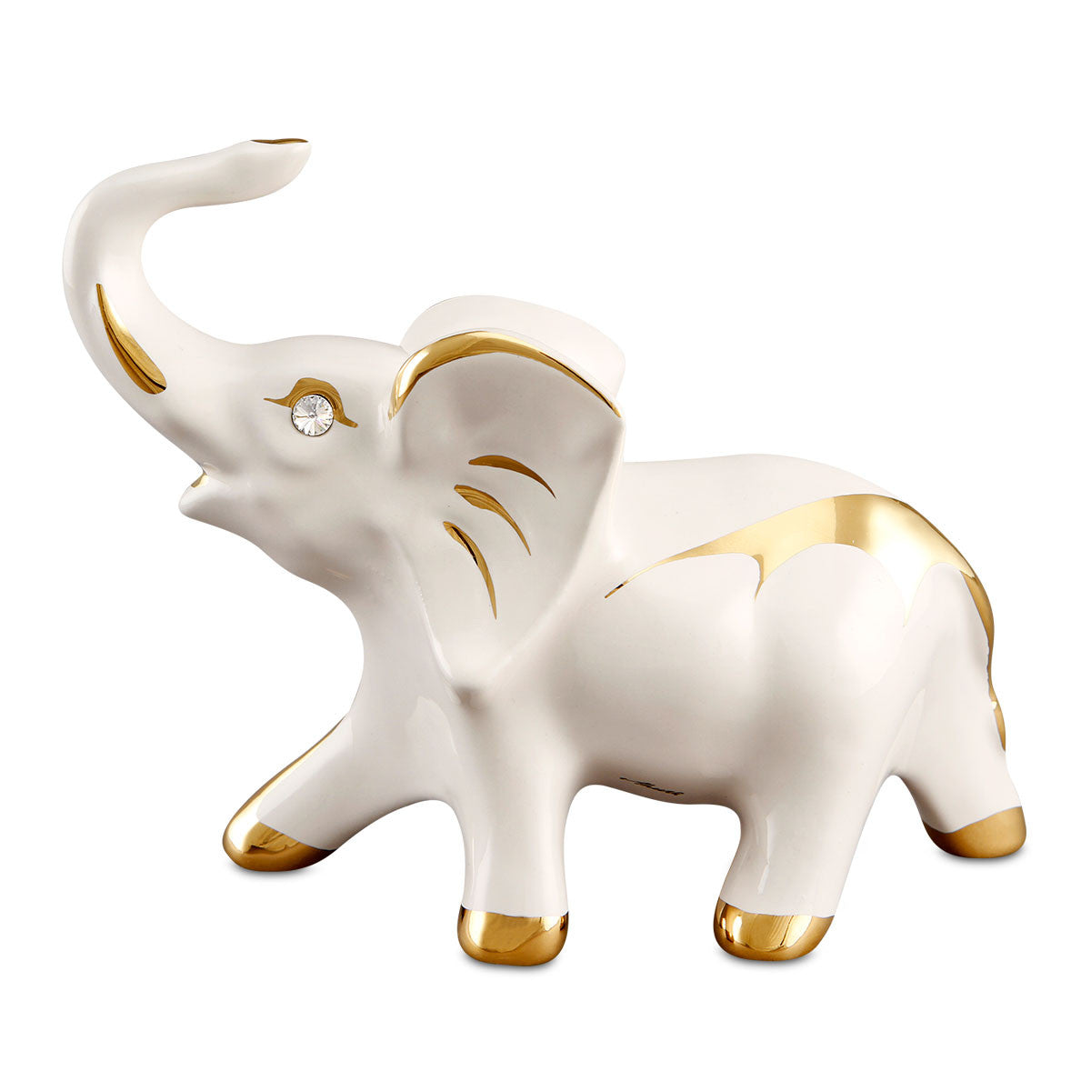 Ceramic good luck elephant with gold accents handmade in Italy