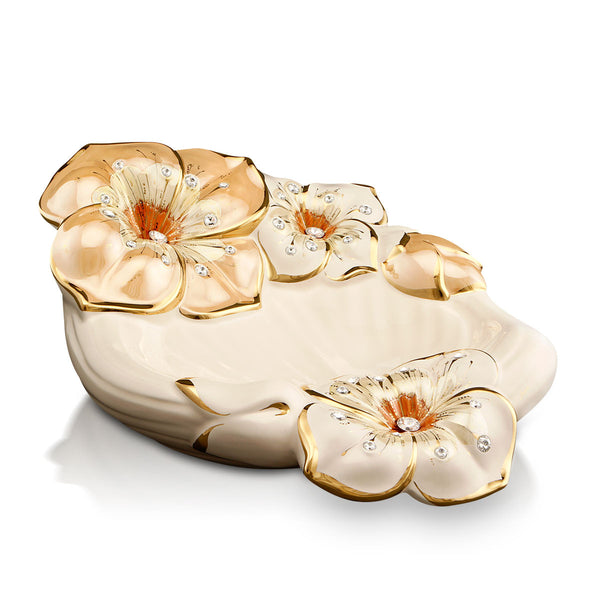 ceramic porcelain flower centerpiece finished in pure gold and salmon luster handmade in Italy