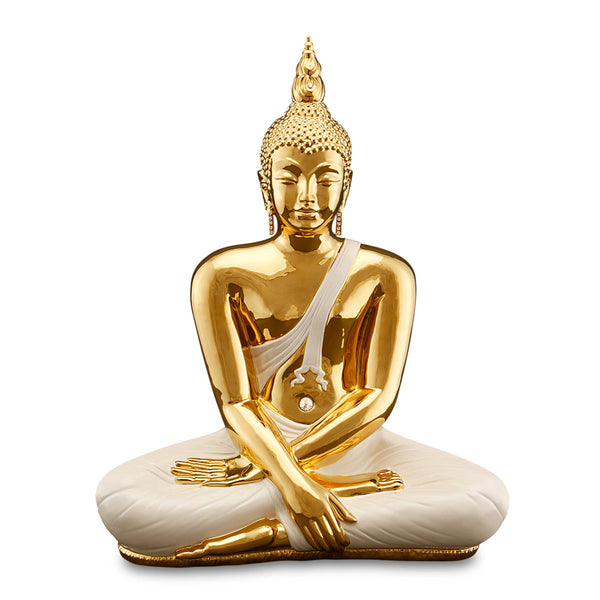 ceramic porcelain ivory Buddha statue finished in pure gold handmade in Italy