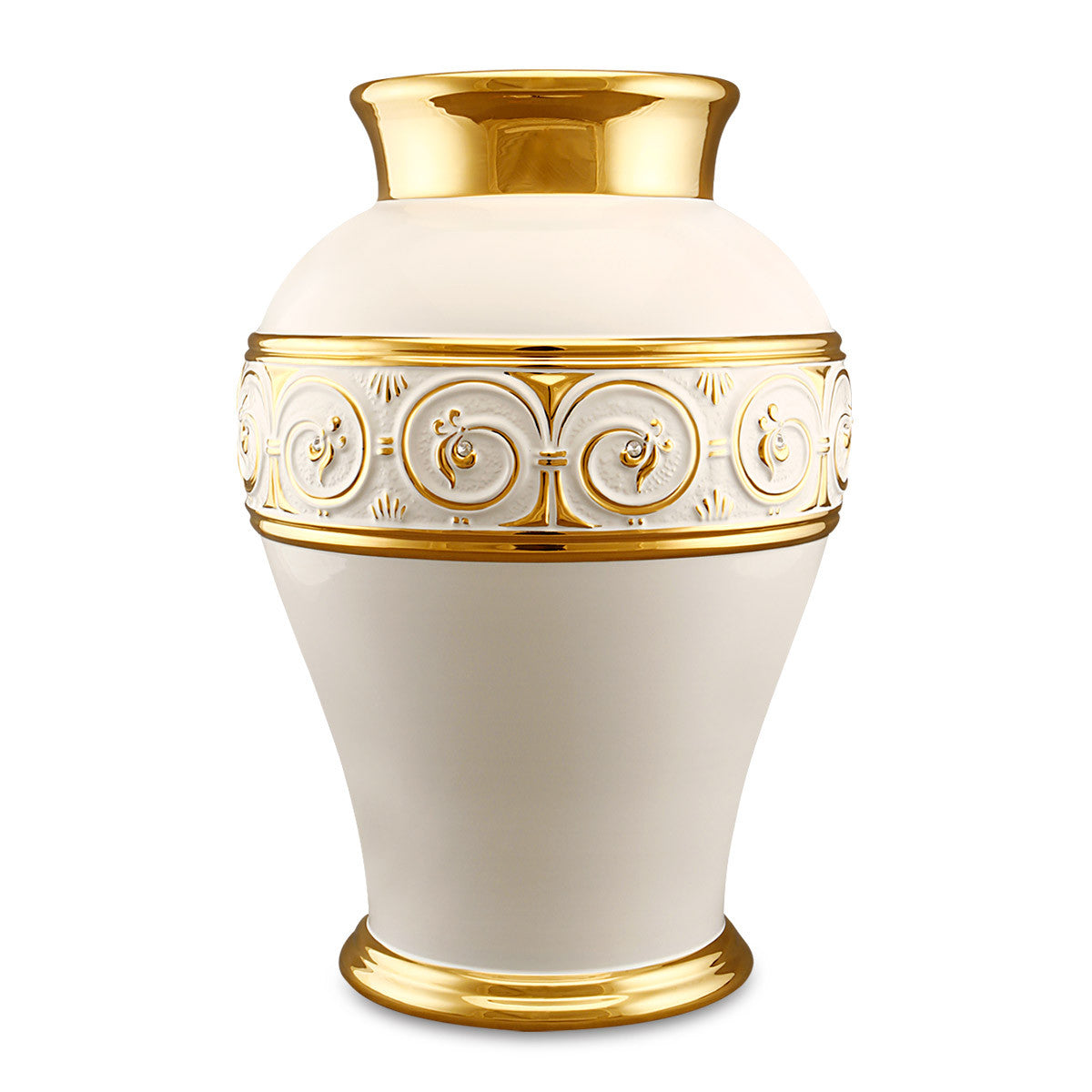 Ceramic amphora vase with greek and gold accents