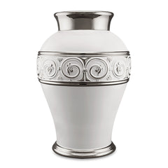 ceramic white platinum vase with greek and Swarovski