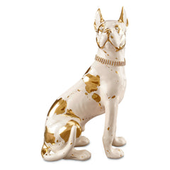Ceramic sitting great dane dog statue with gold accents