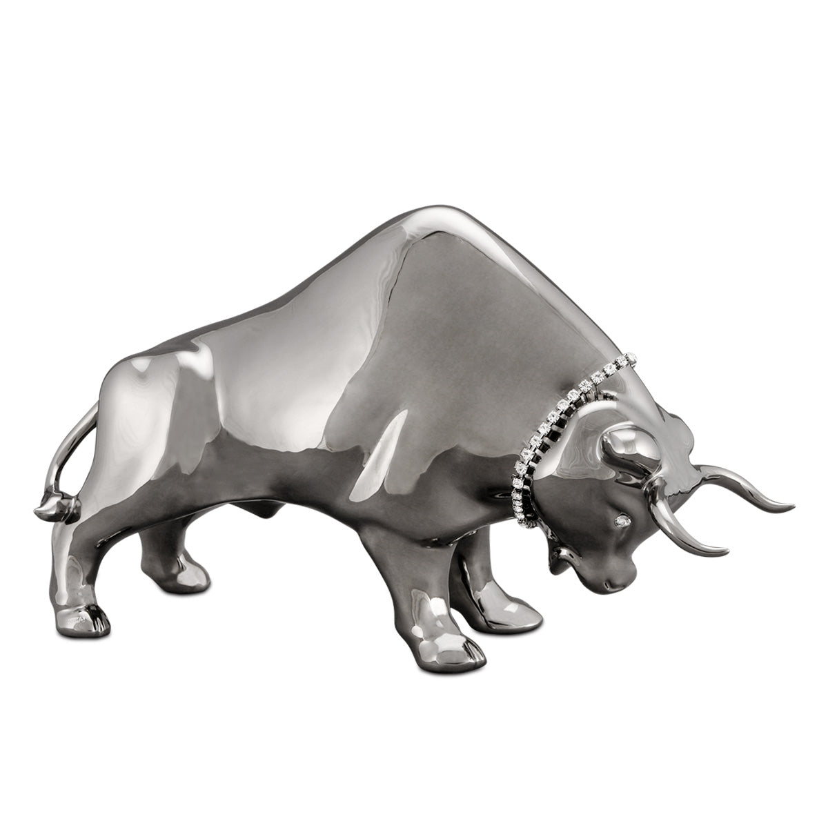 Ceramic bull statue with crystal chain