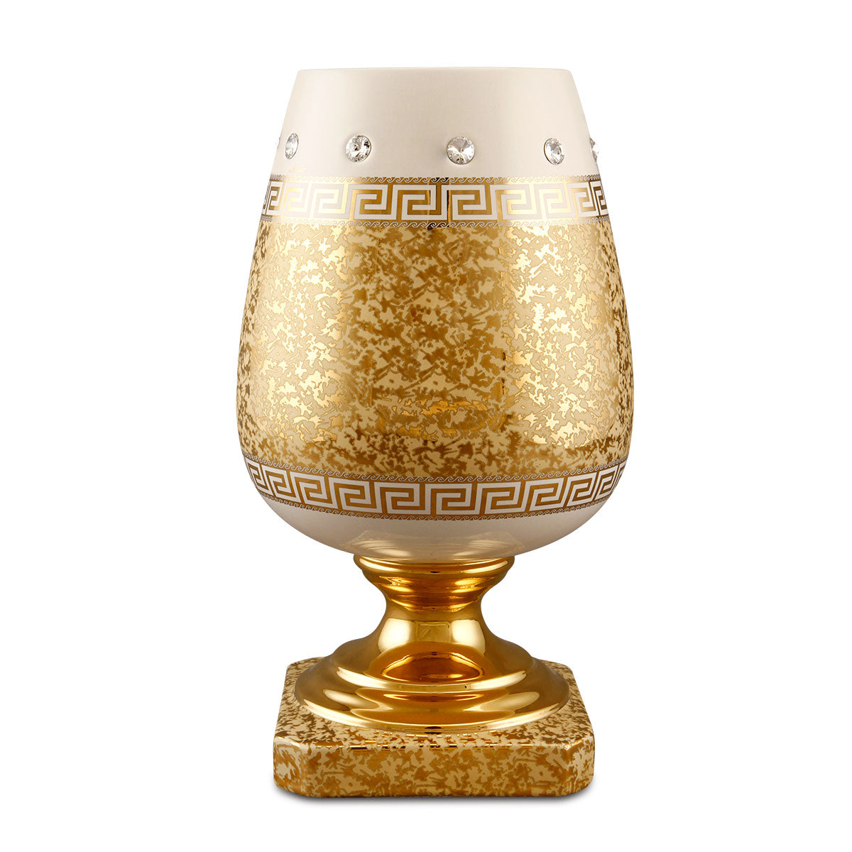 tall vase egg cup ceramic porcelain finished in pure gold