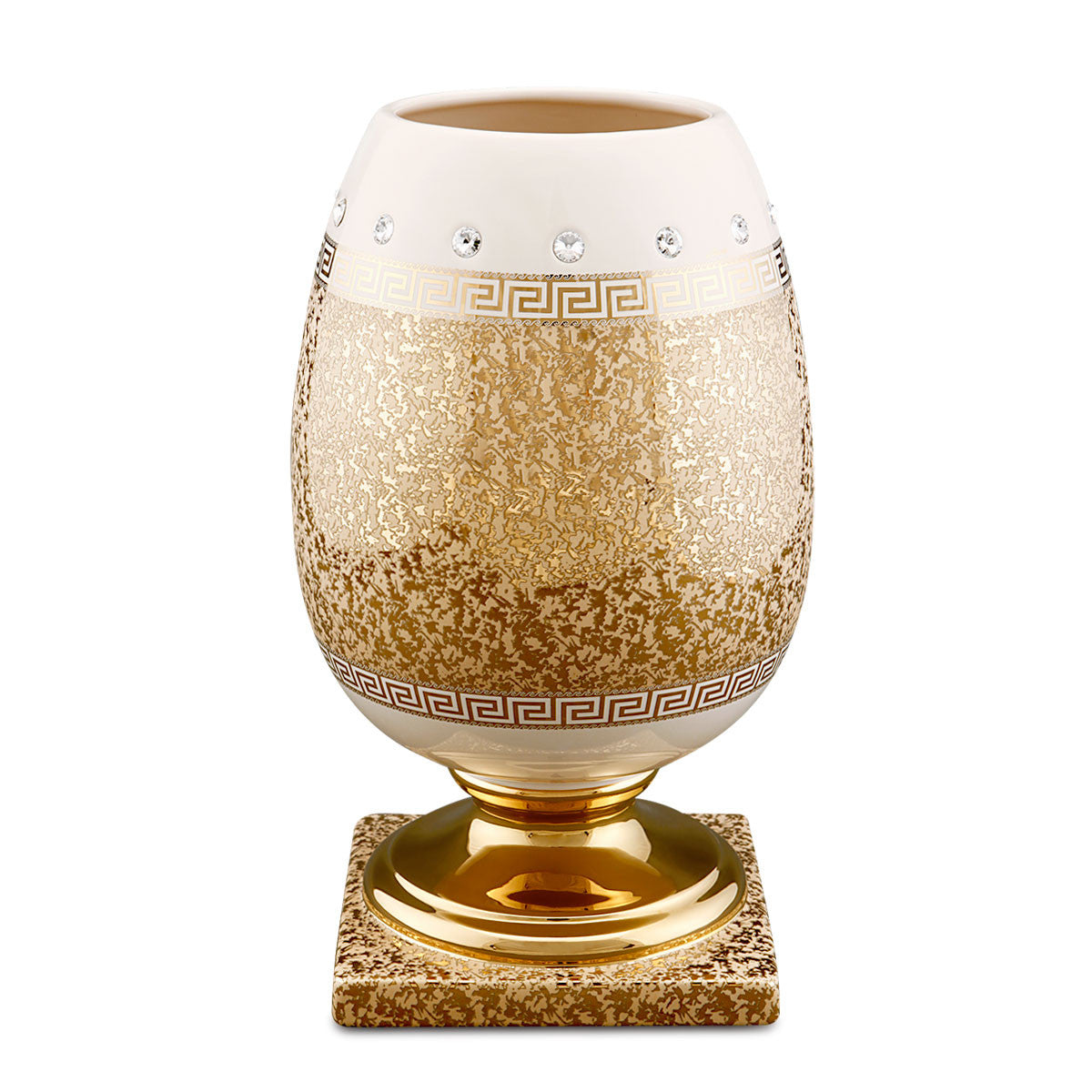Ceramic egg vase with Swarovski crystal