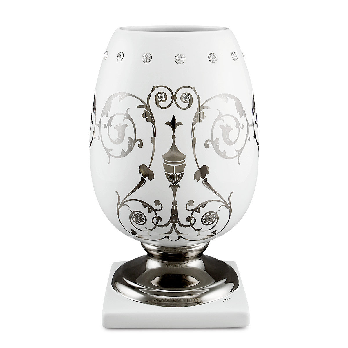 ceramic porcelain vase finished in platinum with imperial design handmade in Italy