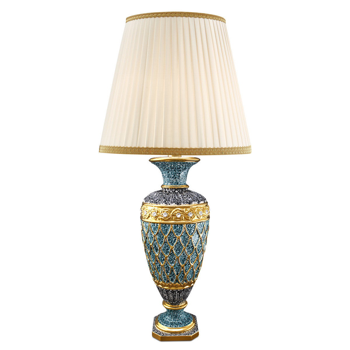 Ceramic classic table lamp in green color