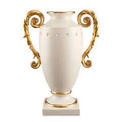 Ceramic vase with handles and Swarovski crystal in ivory color | Diana
