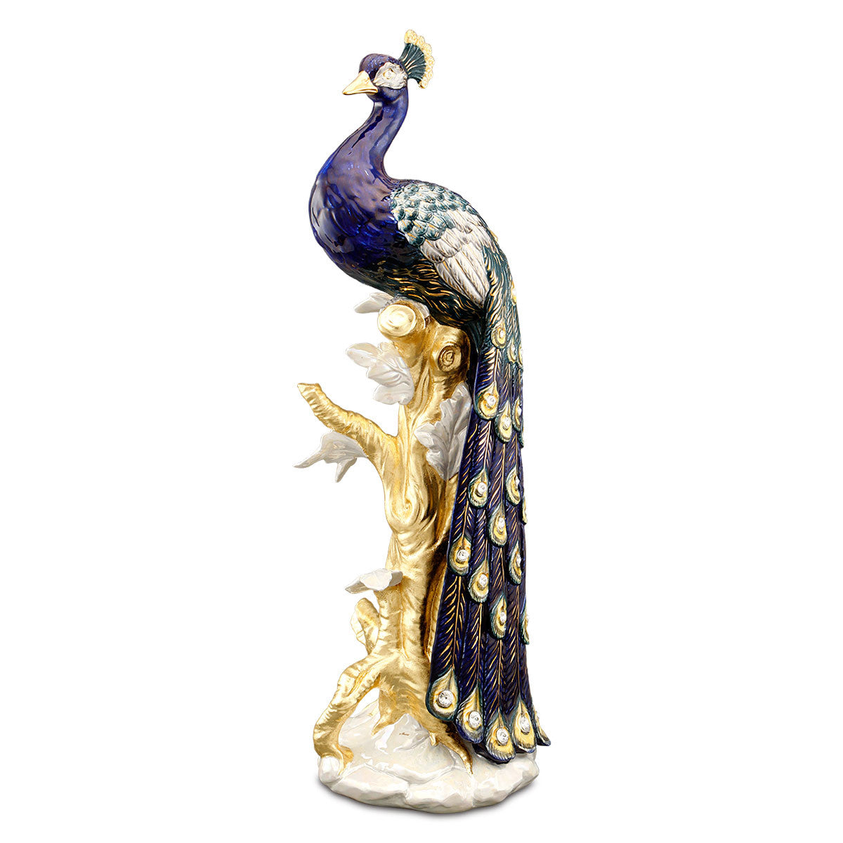 Hand Painted Italian Ceramic peacock statue-Swarovski crystal-24kt gold-peacocks gifts-luxury home decor