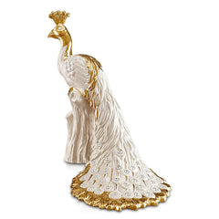 Hand Painted Italian Ceramic peacock statue-Swarovski crystal-24kt gold-peacocks gifts
