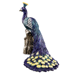 Hand Painted Italian Ceramic peacock statue-Swarovski crystal-pure platinum-peacocks gifts