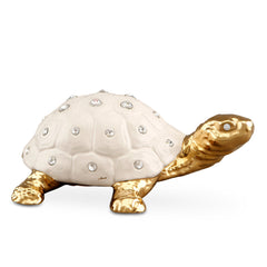 Ceramic turtle with Swarovski crystal finished in pure gold