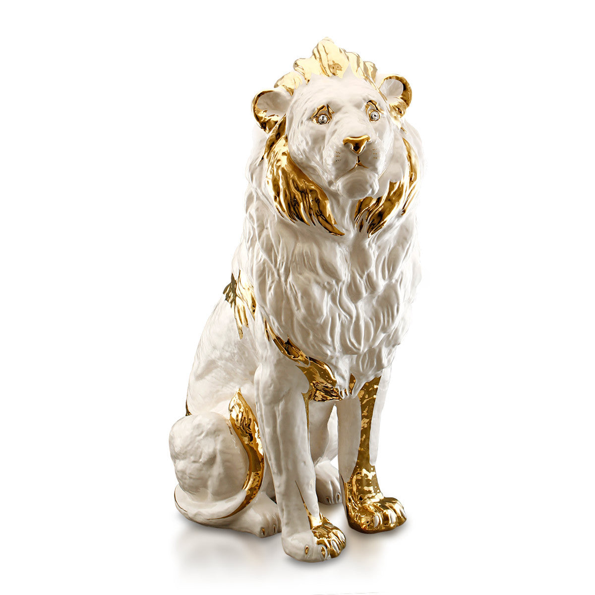 Ceramic big lion statue with gold accents