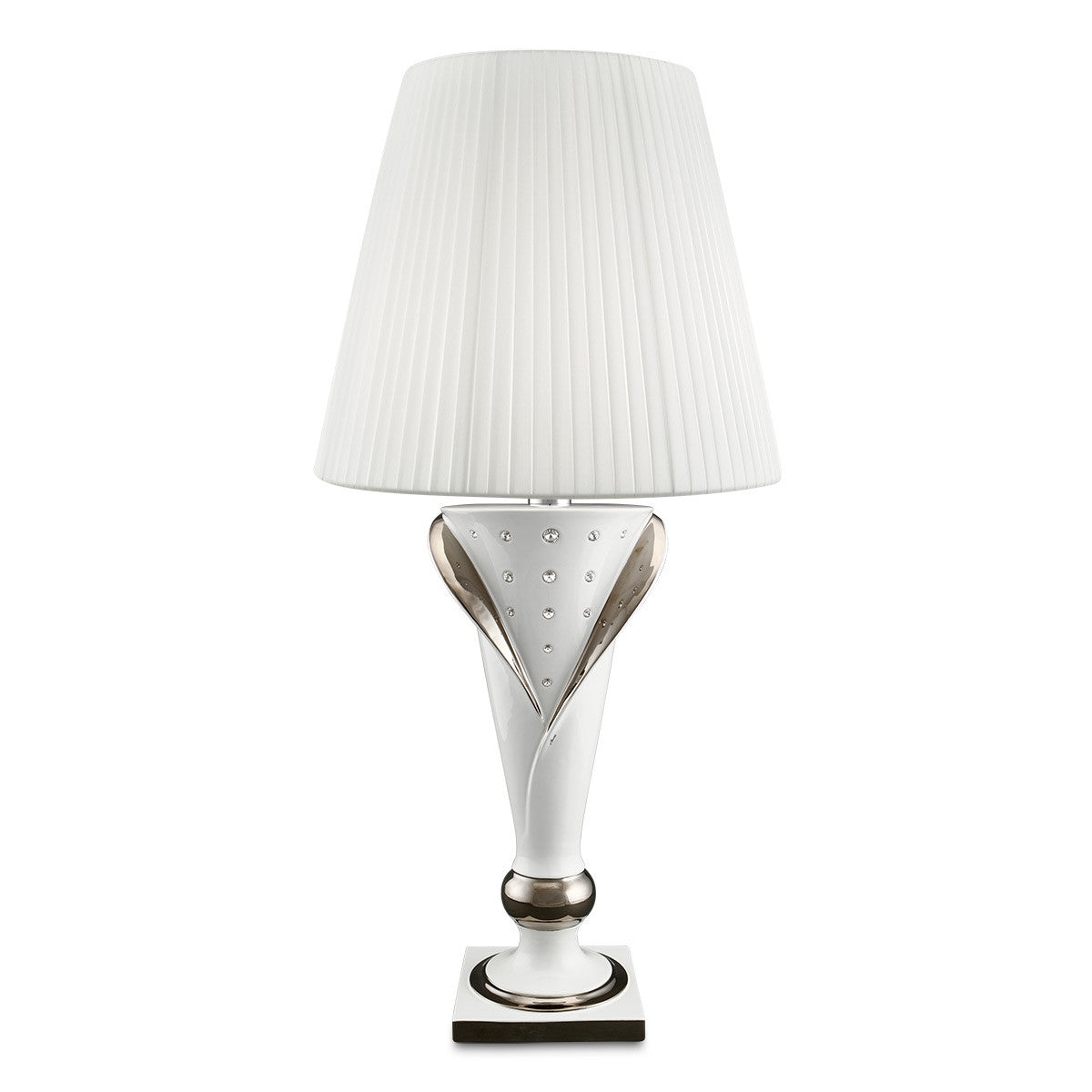 Hand painted pottery | Ceramic table lamp | pure platinum, Swarovski crystal
