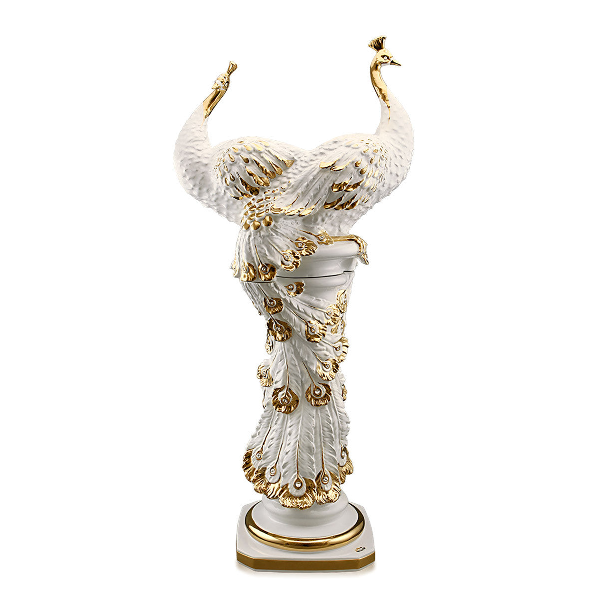 ceramic porcelain ivory big peacock column finished in pure gold handmade in Italy
