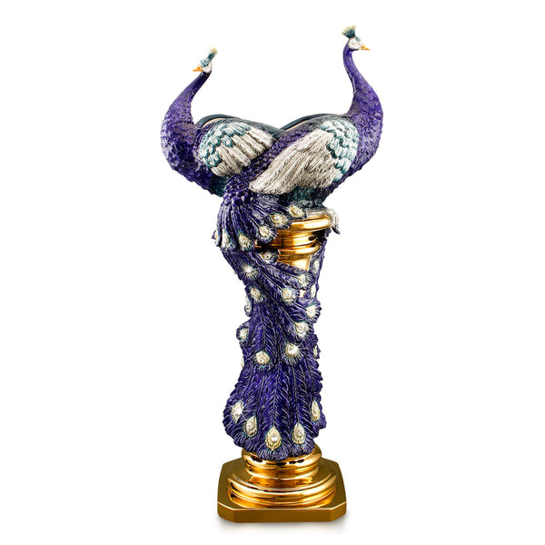 Ceramic Column vase with peacock