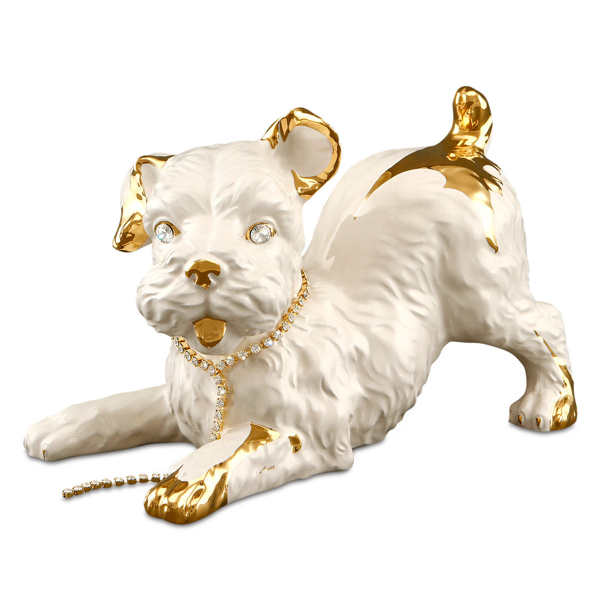 Ceramic playful scottish terrier statue in pure gold with Swarovski handmade in Italy