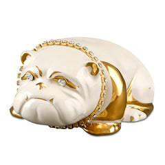 Ceramic bulldog with crystal chain finished in pure gold