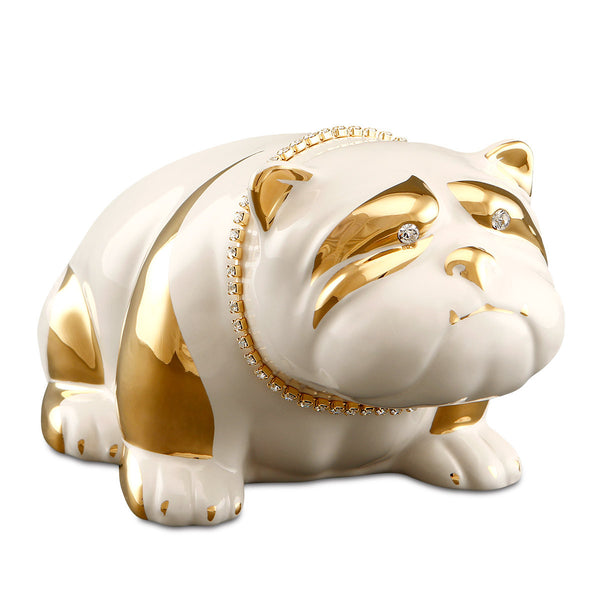 Ceramic bulldog with crystal chain