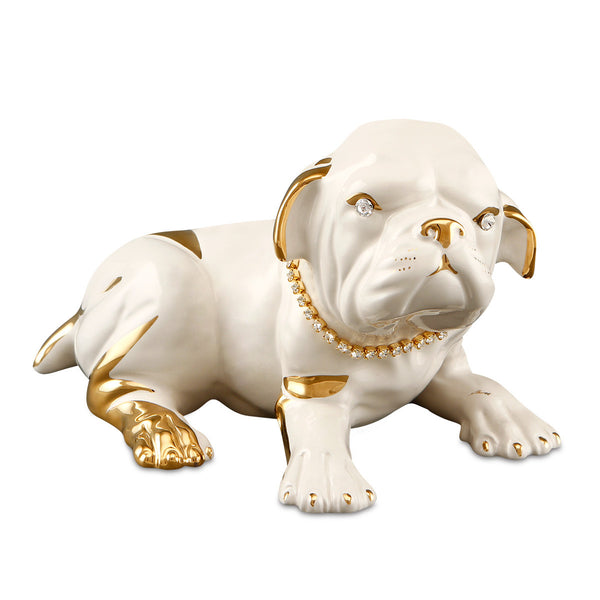 boxer dog ceramic porcelain finished in pure gold