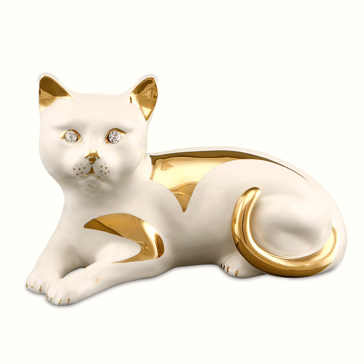cat ceramic porcelain finished in gold handmade in italy