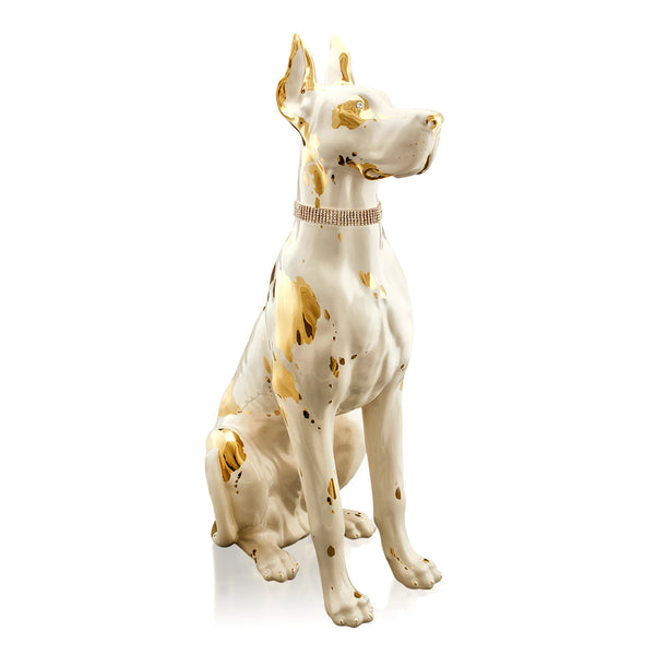 Large ceramic great dane with glitter crystals collar