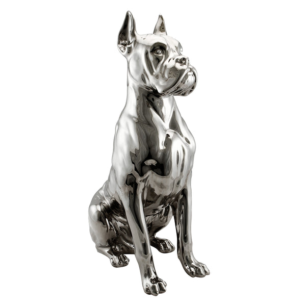 Ceramic platinum big boxer dog statue