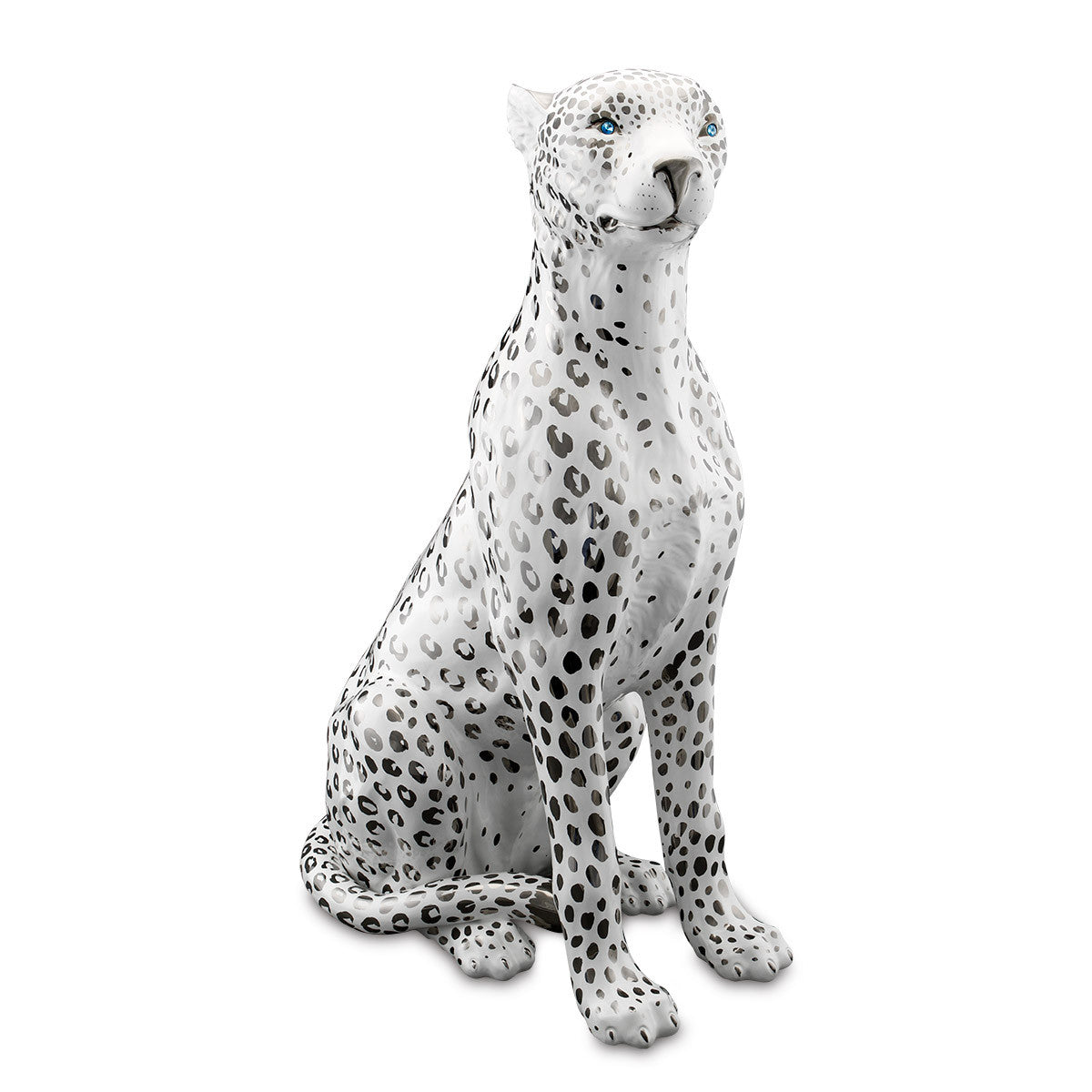 Sitting large ceramic leopard statue platinum