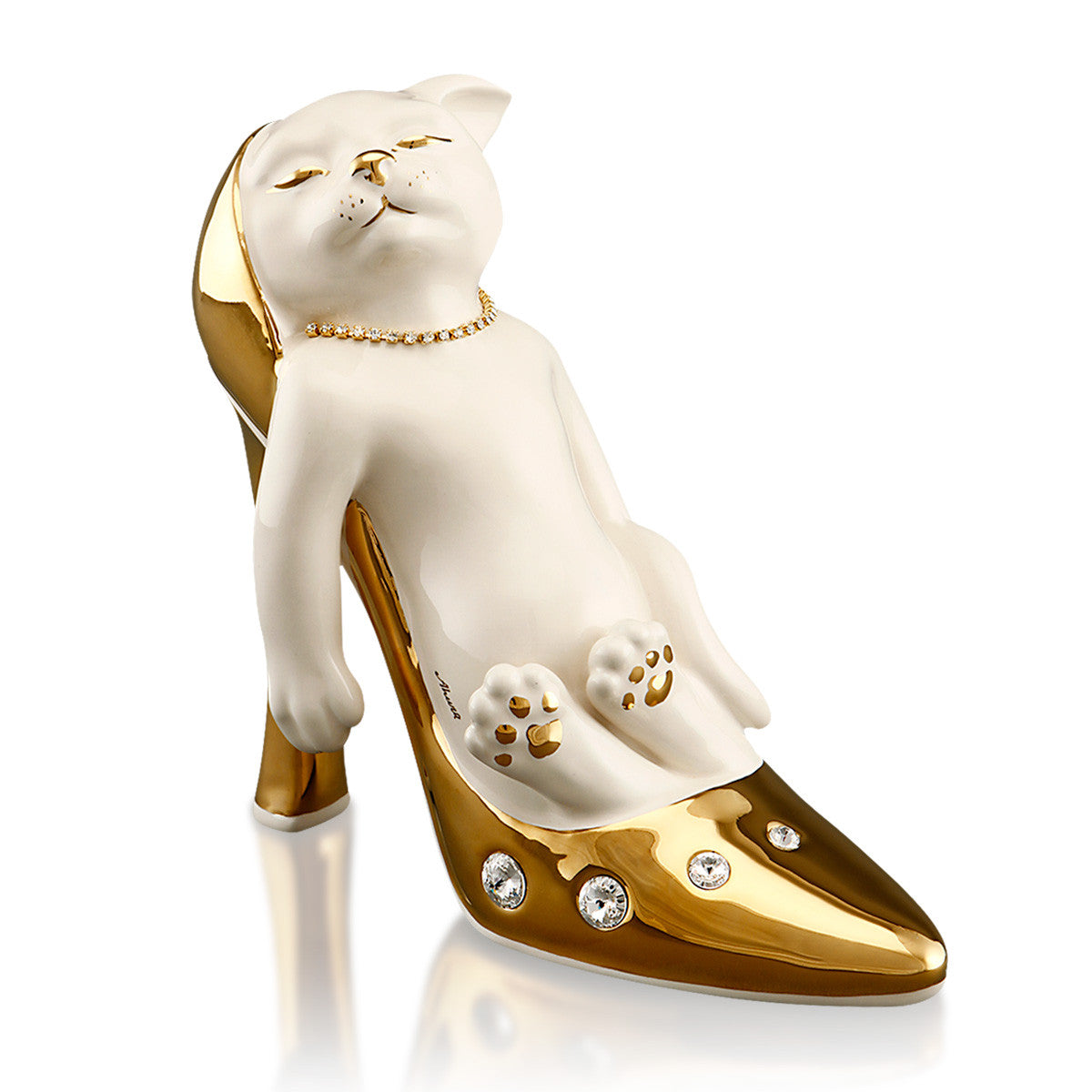 ceramic porcelain cat inside shoe in pure gold with swarovski gift handmade in Italy