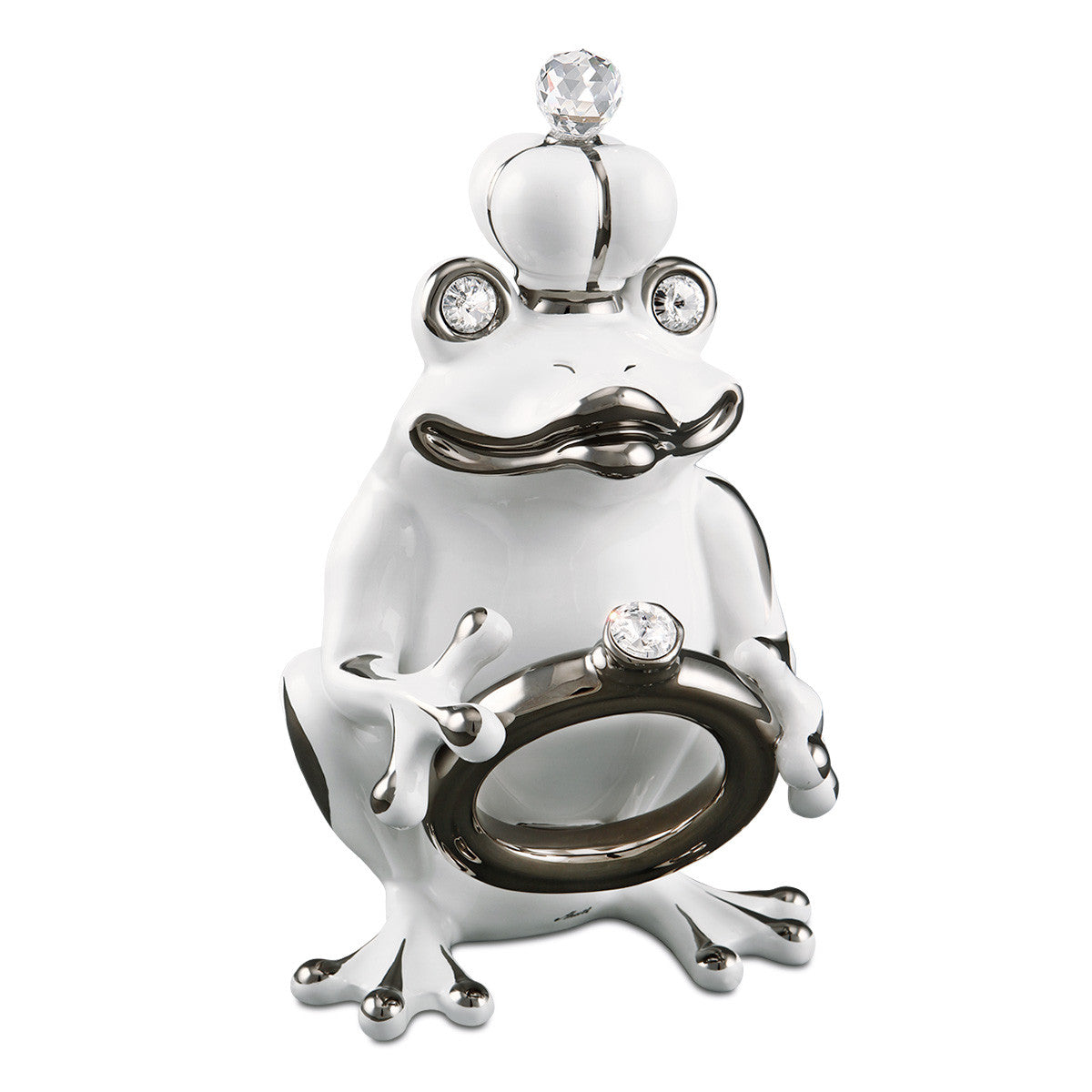 ceramic porcelain white frog finished in platinum with Swarovski handmade in Italy