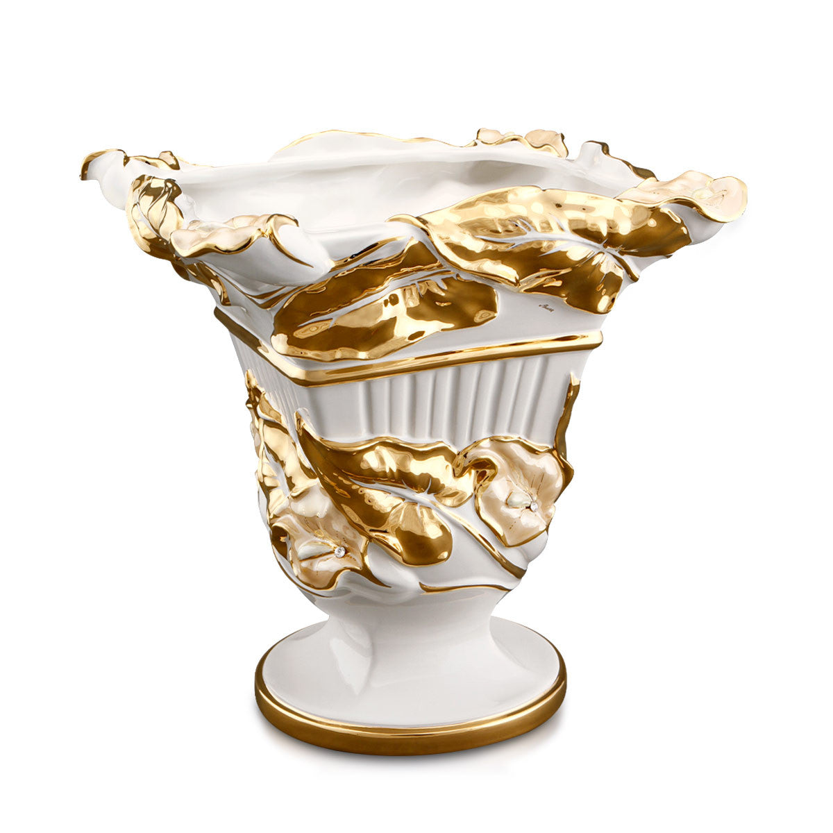 ceramic porcelain centerpiece finished in pure gold and salmon luster handmade in Italy