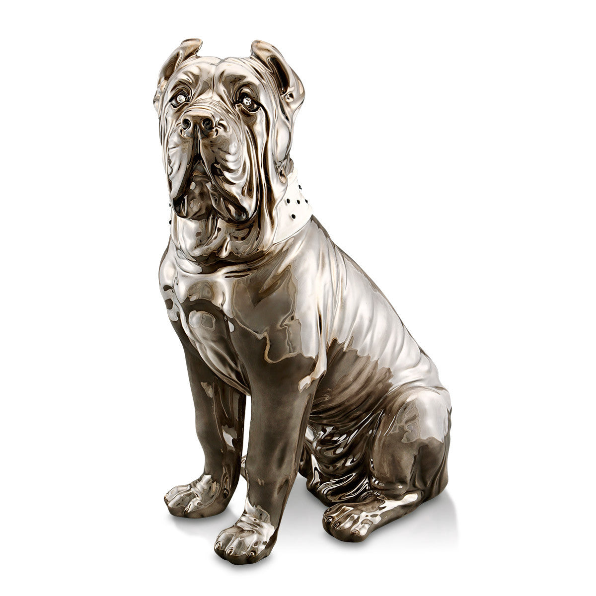 Ceramic italian mastiff statue in bright grey finish