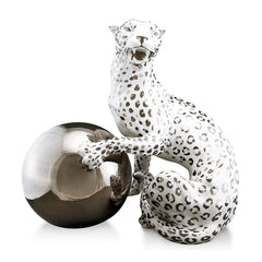 snow leopard with ball ceramic porcelain hand-painted in platinum