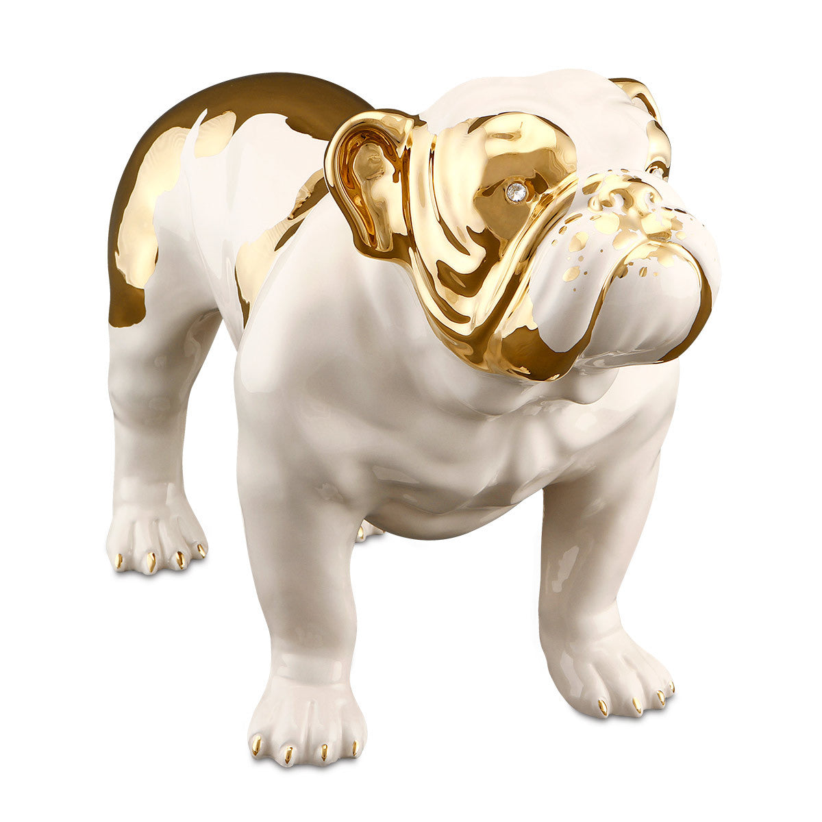 Hand Painted Italian Ceramic english bulldog statue-24kt gold-animal gifts-luxury home decor