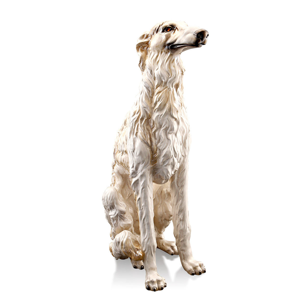 Ceramic russian wolfhound in pearl salmon finish