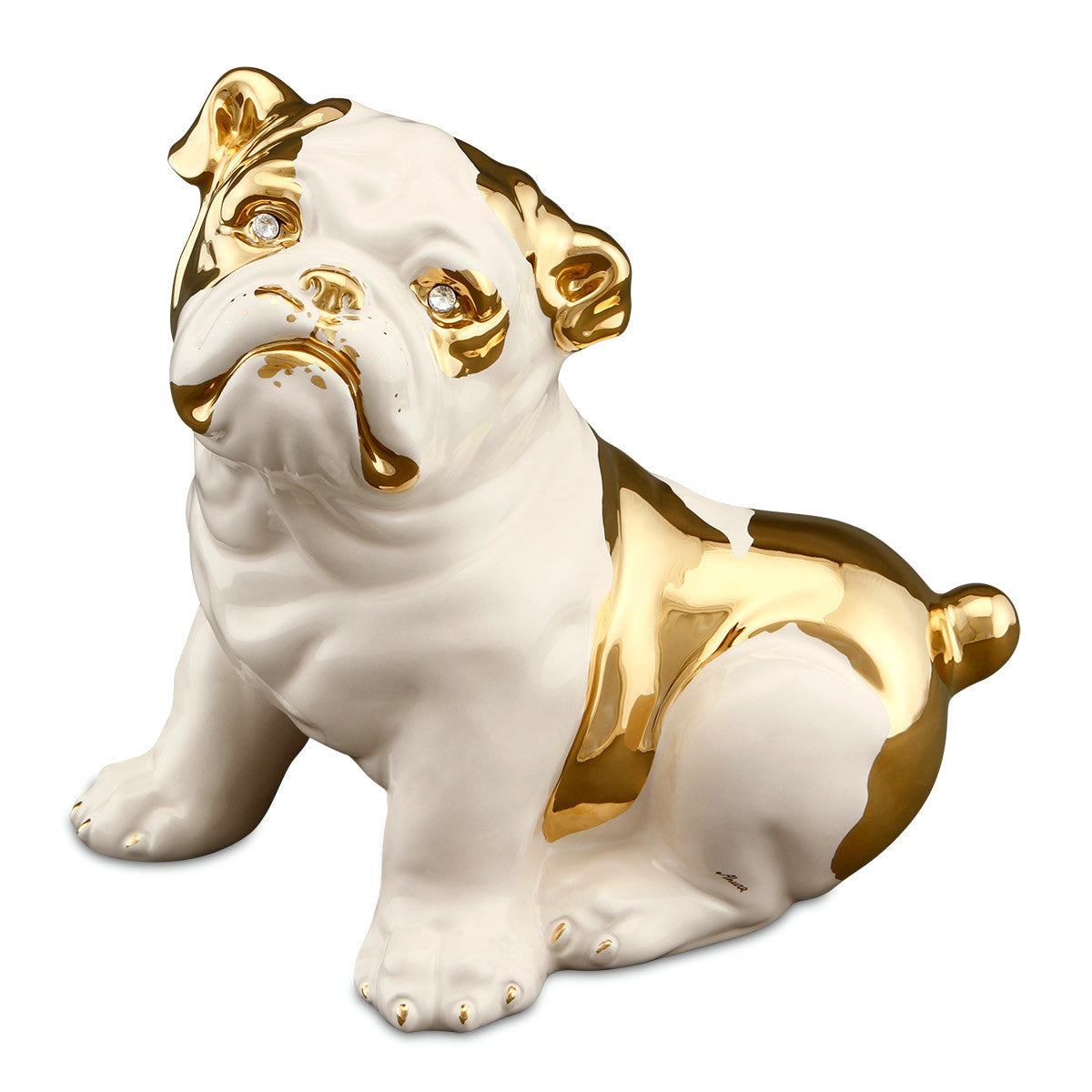 puppy bulldog ceramic porcelain animal statue hand-painted in gold