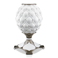 ceramic porcelain classic white vase finished in platinum with Swarovski handmade in Italy