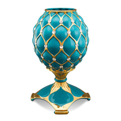 ceramic porcelain classic turquoise vase finished in pure gold with Swarovski handmade in Italy