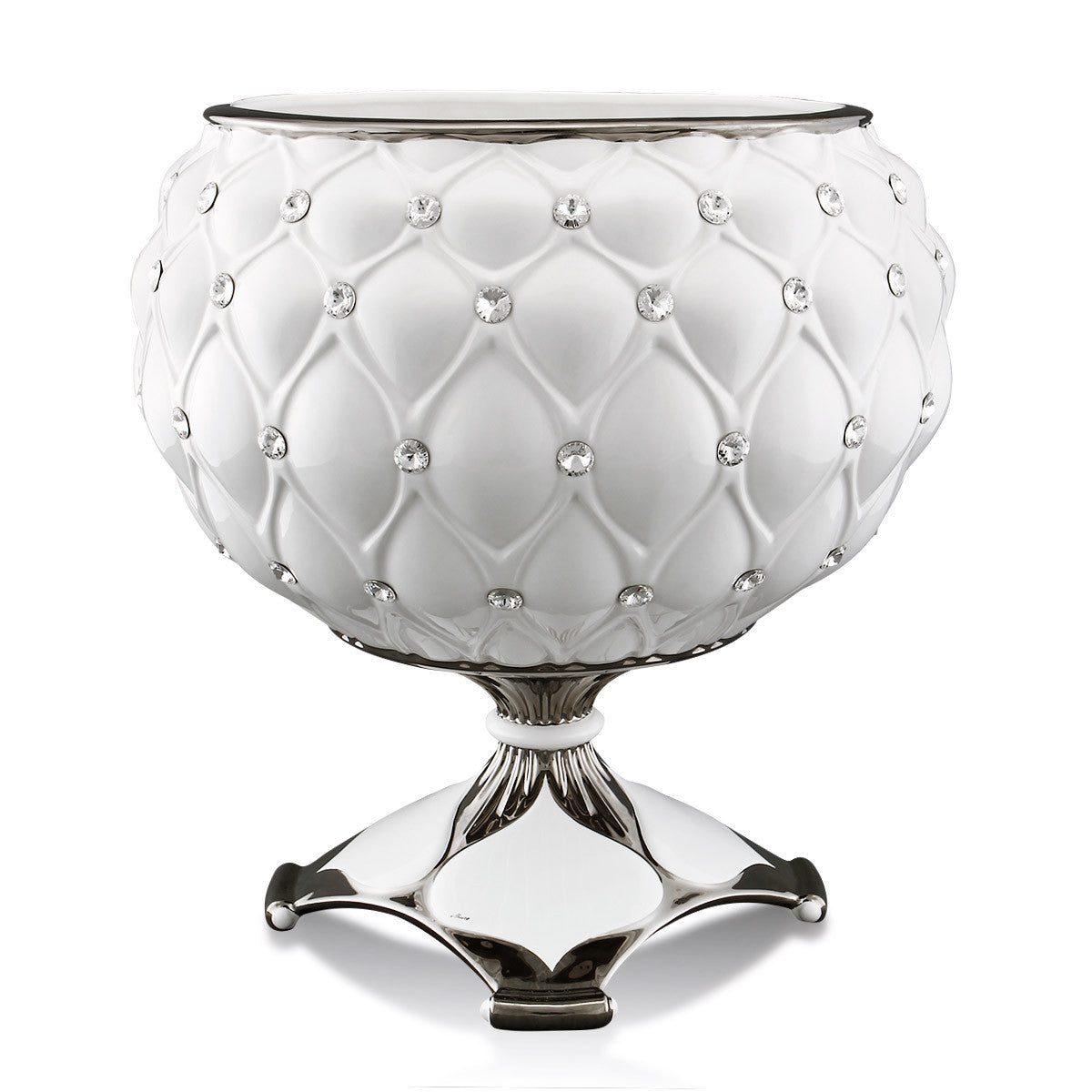 ceramic porcelain white big cup vase finished in platinum with Swarovski handmade in Italy