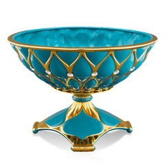 ceramic porcelain turquoise decorative centerpiece finished in pure gold handmade in Italy