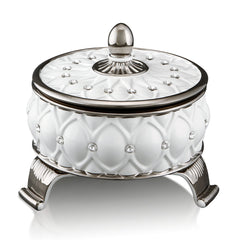 ceramic porcelain white venice box finished in pure platinum with Swarovski handmade in Italy