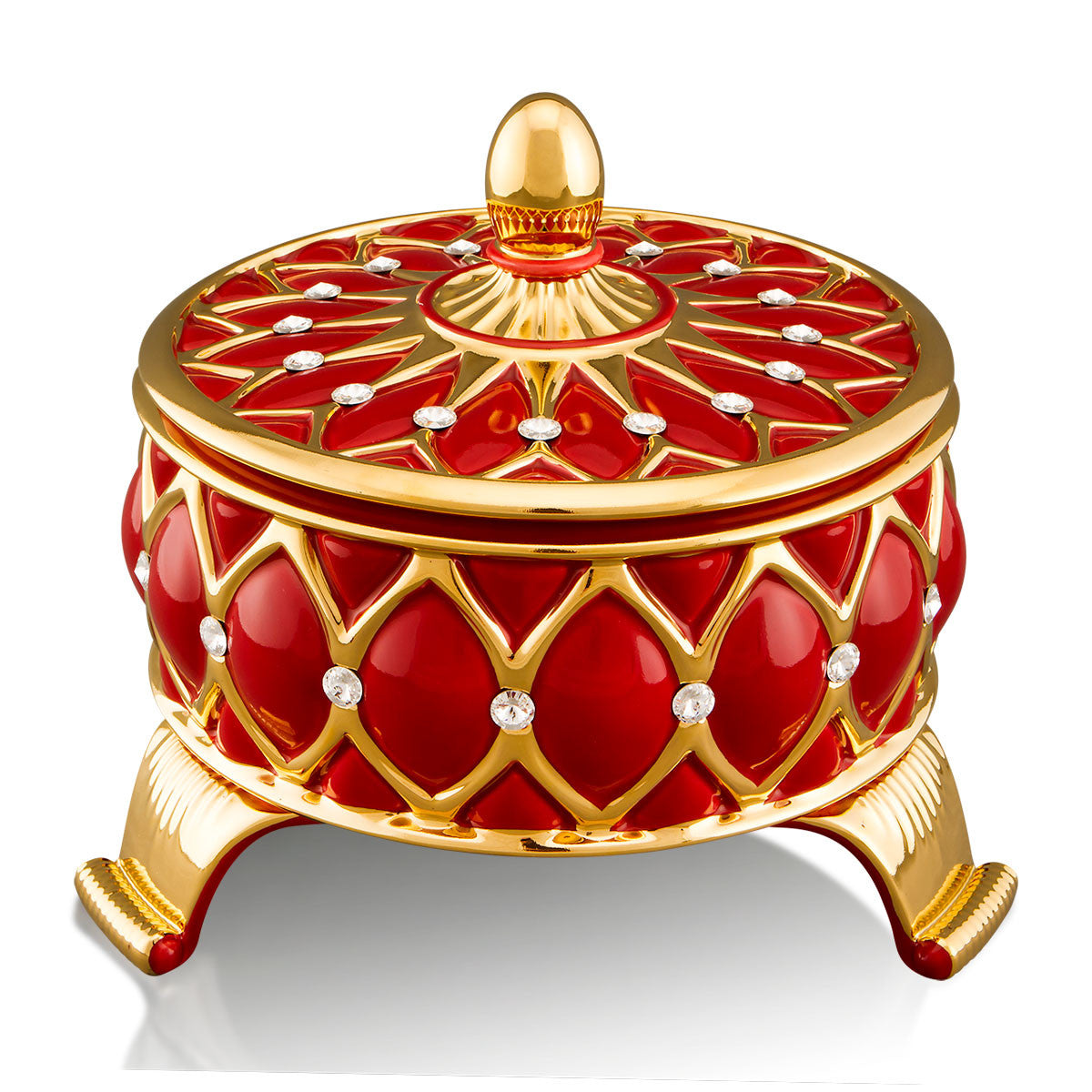 ceramic porcelain red venice box finished in pure gold with Swarovski handmade in Italy