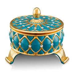 ceramic porcelain turquoise venice box finished in pure gold with Swarovski handmade in Italy