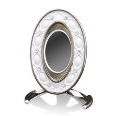 ceramic porcelain white venice frame finished in pure platinum with Swarovski handmade in Italy