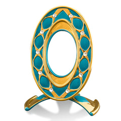 ceramic porcelain turquoise venice frame finished in pure gold with Swarovski handmade in Italy